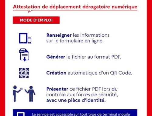 Attestation de déplacement dérogatoire format numérique sur smartphone ou tablette.